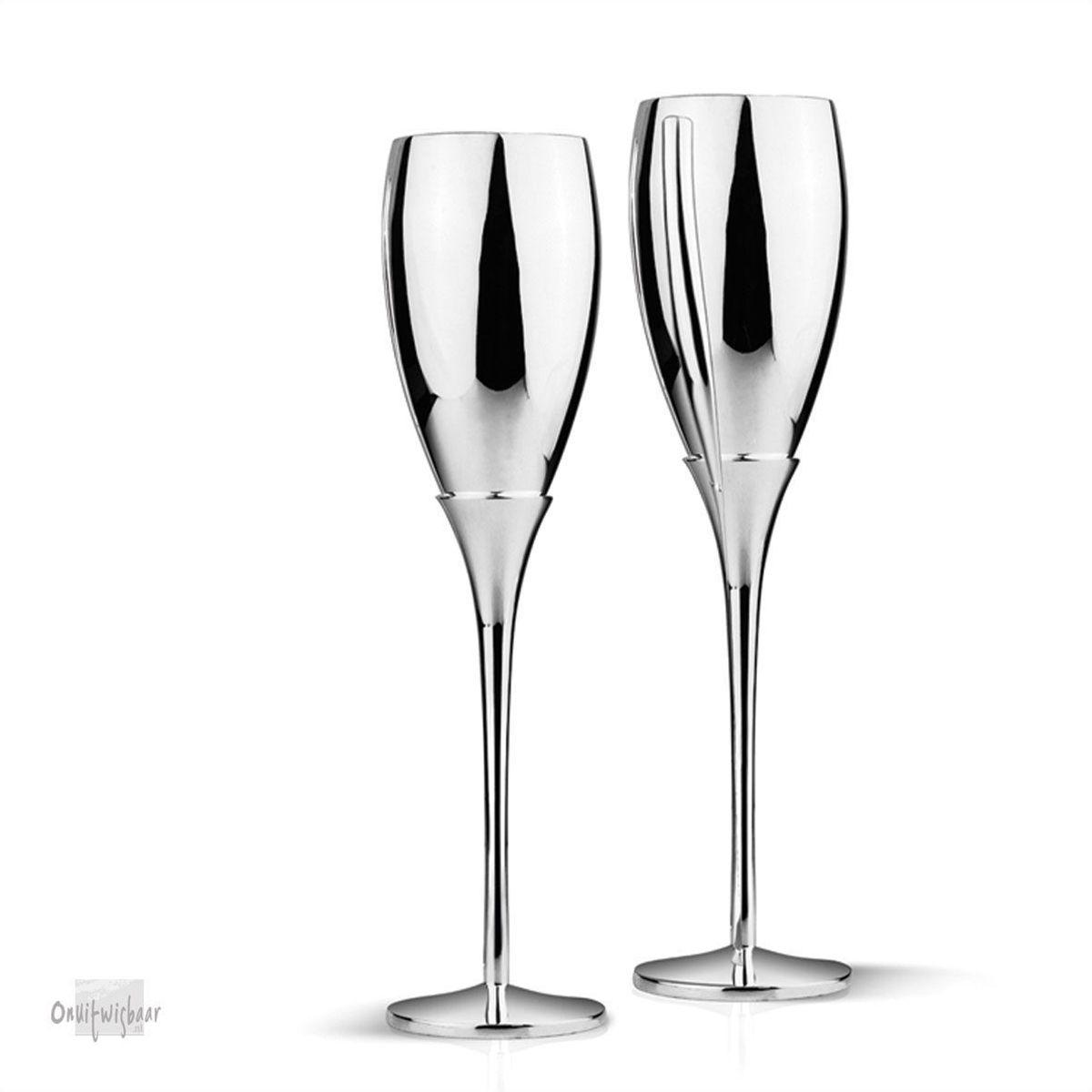 2 champagne flutes verzilverd
