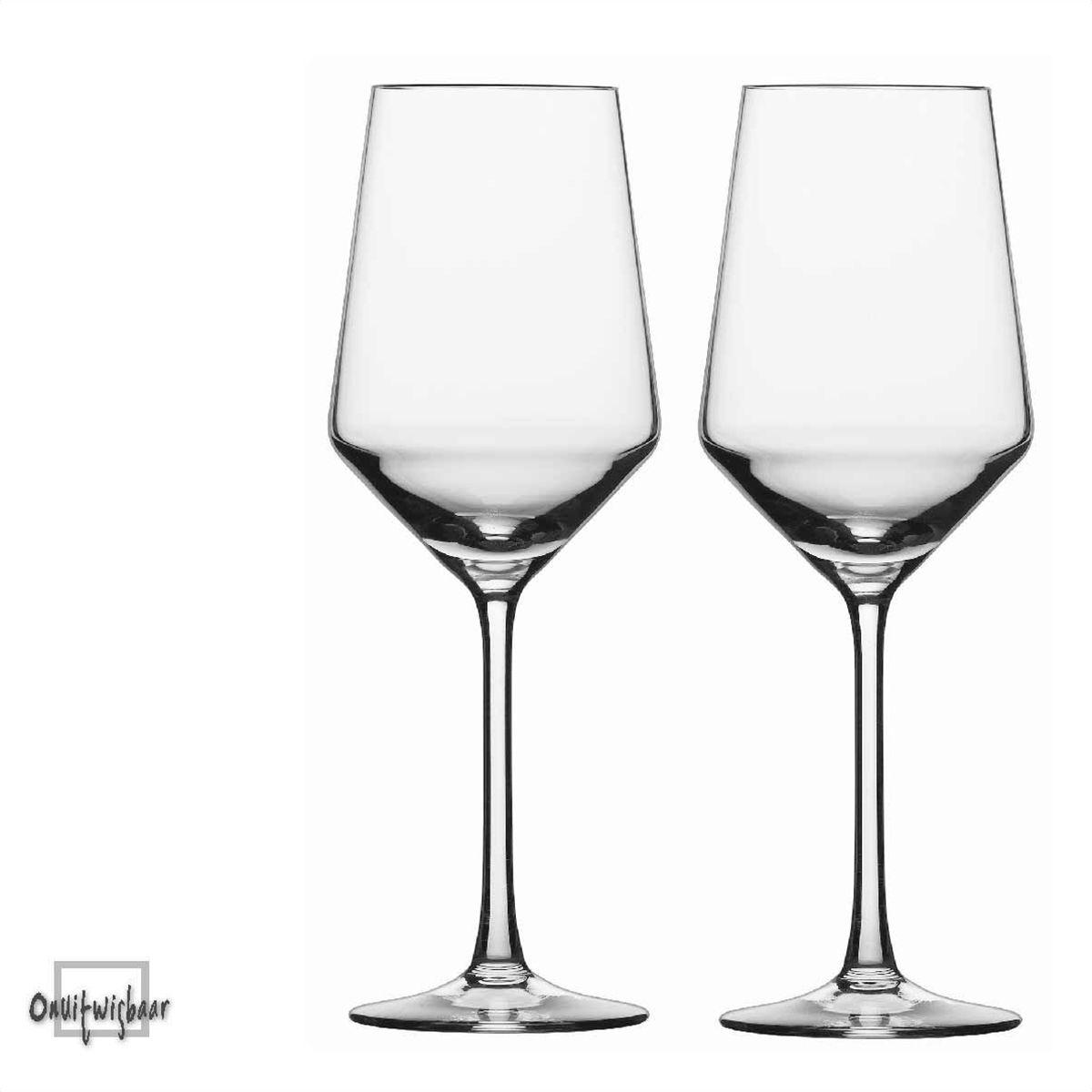 2 moderne witte wijn glazen pure