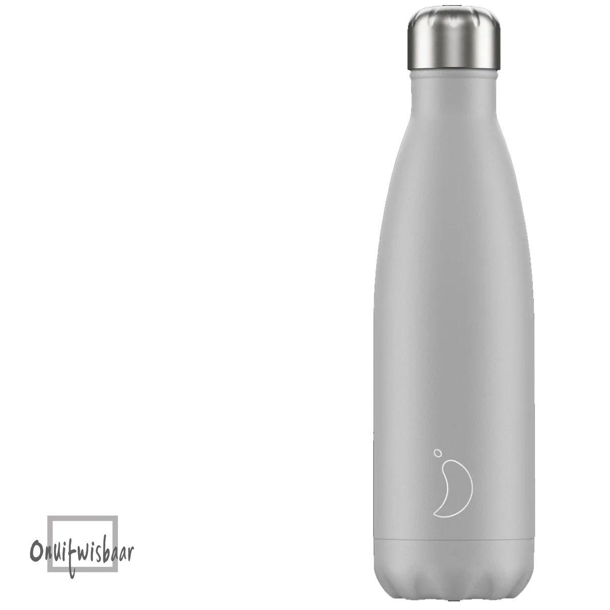 chillys bottle licht grijs 500ml inclusief logo of naam